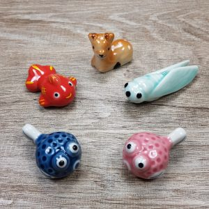 Brush Rest Holder – Kawaii Animal – Japanese Porcelain Chopstick Holder – Calligraphy Rest – Deer – Puffer – Fish – Goldfish – Cricket