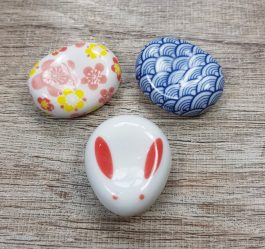 Brush Rest Holder – Sakura Flowers – Bunny – Blue Waves – Japanese Porcelain Chopstick Holder – Calligraphy Rest