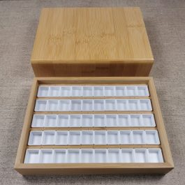 Hand-Made Wooden Watercolor Storage Box – Including 50 Quarter Pans – Paint Storage – Very limited stock