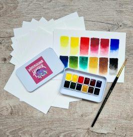 Chasing Linen Watercolor Summer Online Classes Sets – 24 Colors – 12 Colors – Brush – 100% Cotton Watercolorpaper Active